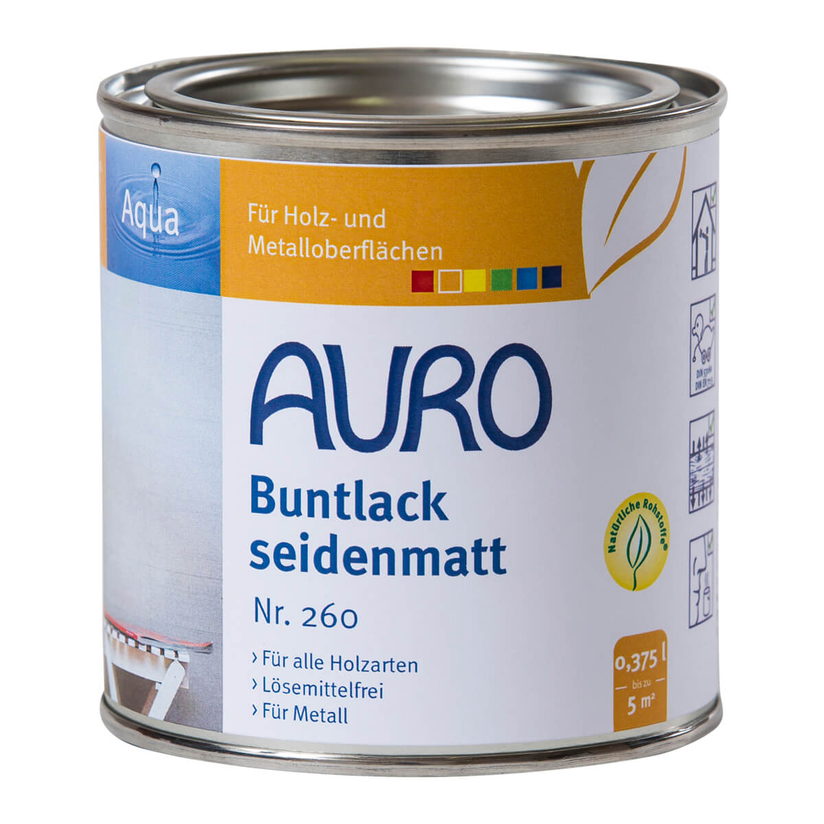AURO Buntlack und Weißlack, seidenmatt, Aqua Nr. 260